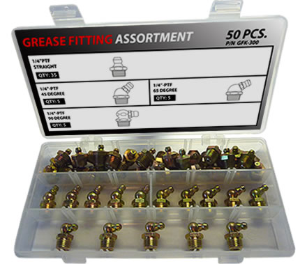 "50pc 1/4""-18 PTF Grease Fitting Assortment"