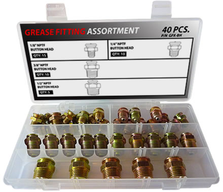 40pc Button Head Grease Fitting Assortment