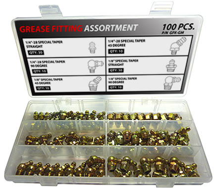 100pc Thread Forming Grease Fitting Assortment