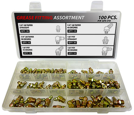 100pc Standard Grease Fitting Assortment Kit