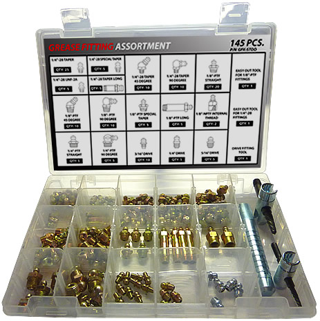 145pc Grease Fitting Assortment with (3) Tools