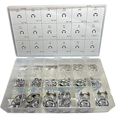 982pc Stainless Steel External E-Ring Assortment. Made in The USA.